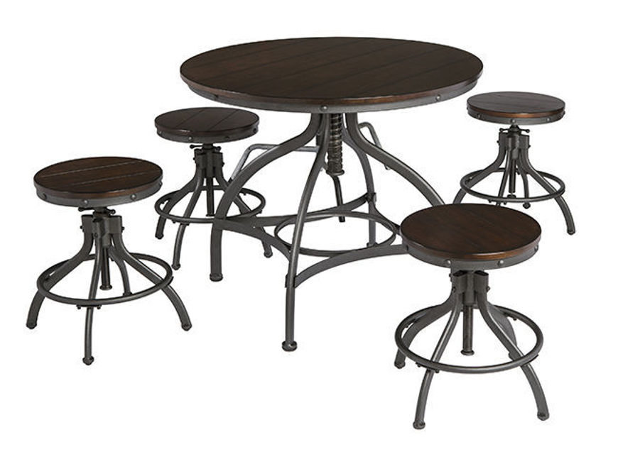 Picture of Odium 5 Pc Adjustable Dining or Counter High Table Set